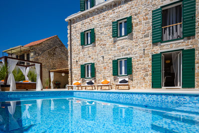 pool infront of villa